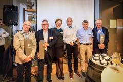 Alain Lecuelle, Charles Marcon, Cécile, Claude, Jean-Pierre Barbier et Jean-François Protheau, associés de la première heure chez Mister Harry